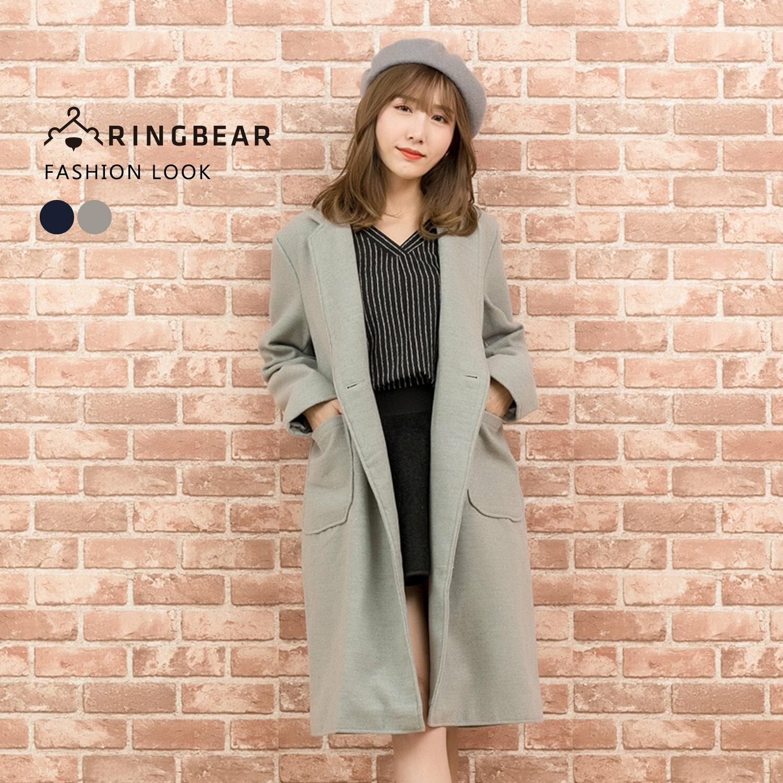 外套--優雅氣質英倫風西裝領單排釦貼式口袋長版毛呢大衣(灰.藍L-3L)-J320眼圈熊中大尺碼 1