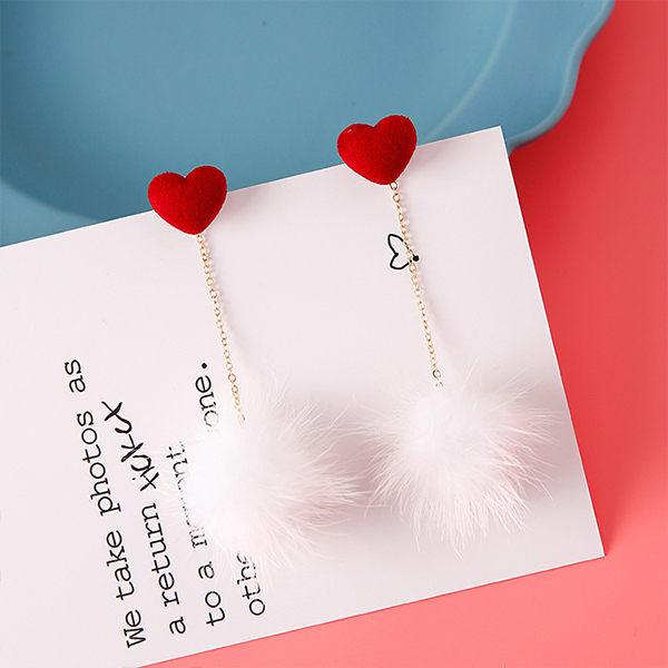 PS Mall 新款 甜美可愛立體愛心貂毛球耳環女日韓版耳墜氣質耳釘飾品【G041】 0