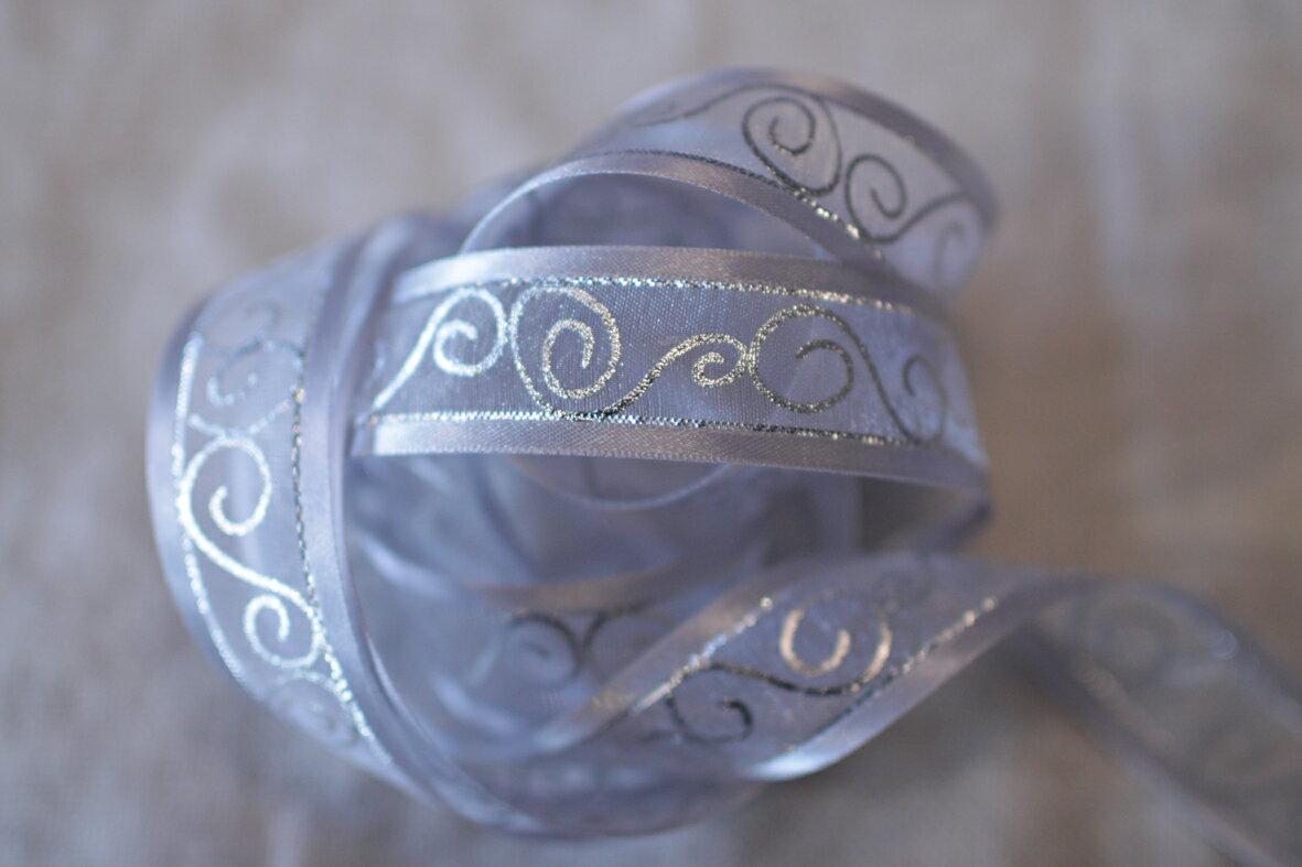 【Crystal Rose緞帶專賣店】緞邊雪紗曲線緞帶 22mm 3碼 (4色) 2