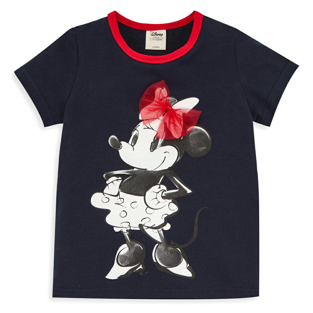 Disney 米妮系列俏麗網紗棉彈上衣-深藍 1