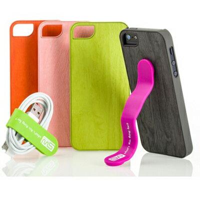 APPLE iPhone 5 / 5S 森林系木紋保護殼組合 附彩晶螢幕貼+創意小品 SIMPLE WEAR
