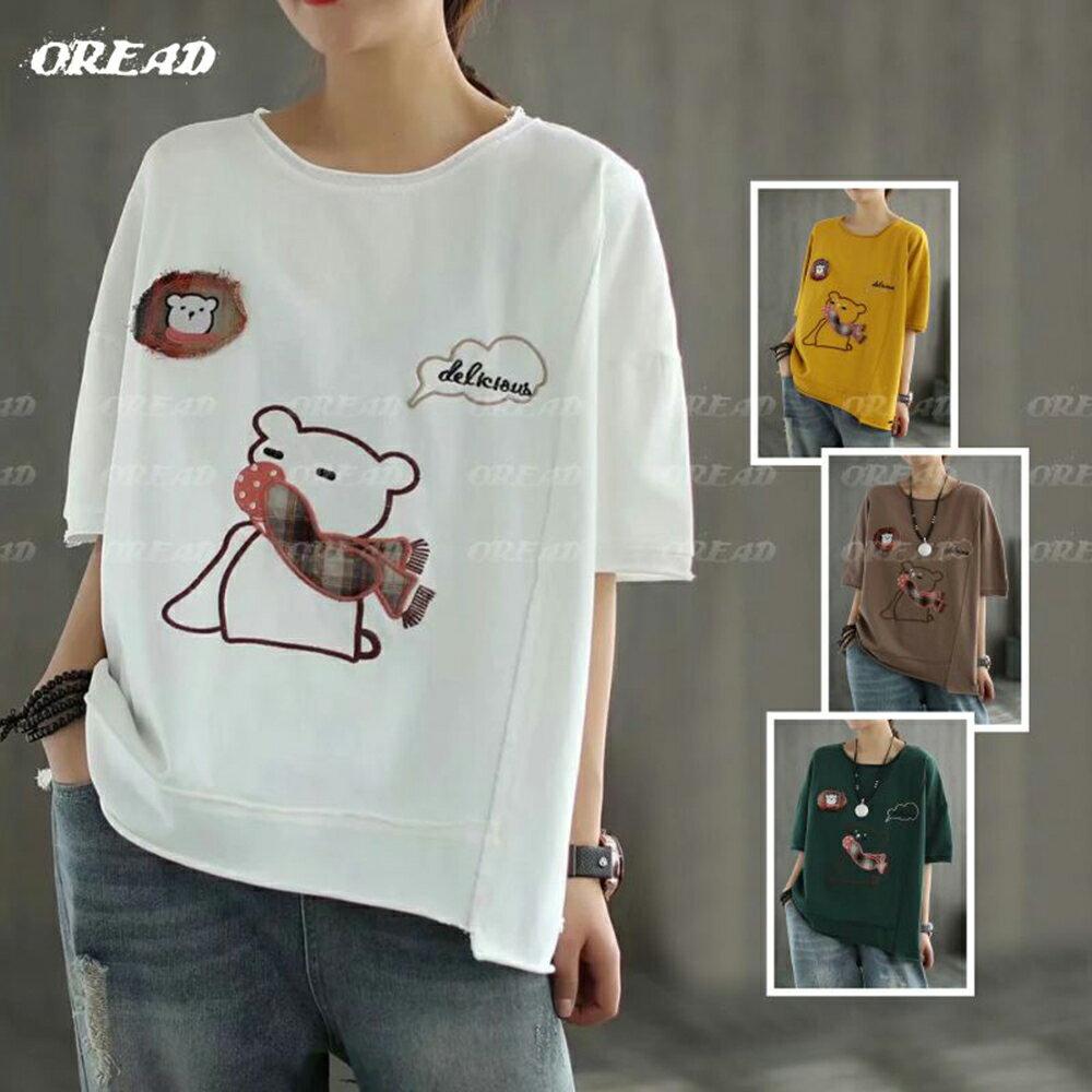 休閒圍巾小熊寬鬆短袖上衣(4色F碼)*ORead* 1