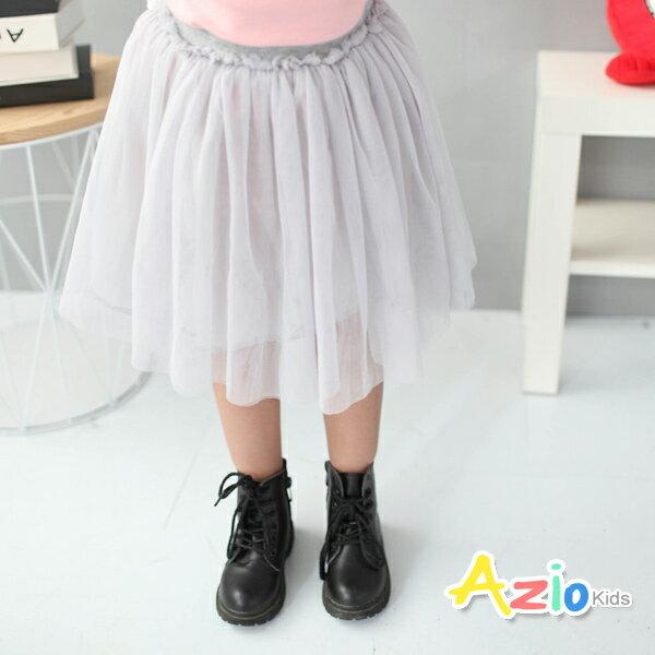 Azio Kids美國派:《AzioKids美國派童裝》短裙純色網紗鬆緊短裙(灰)