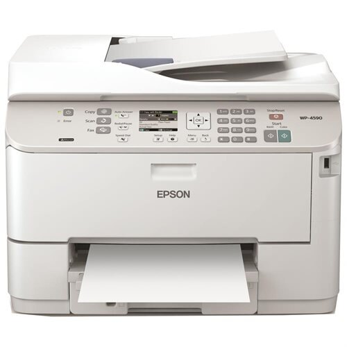 "Epson WorkForce Pro WP-4590 Inkjet Multifunction Printer - Color - Plain Paper Print - Desktop - Copier/Fax/Printer/Scanner - 16 ppm Mono/11 ppm Color Print (ISO) - 4800 x 1200 dpi Print - Automatic Duplex Print - 2.5"" LCD - 2400 dpi Optical Scan - 330 sh 0"