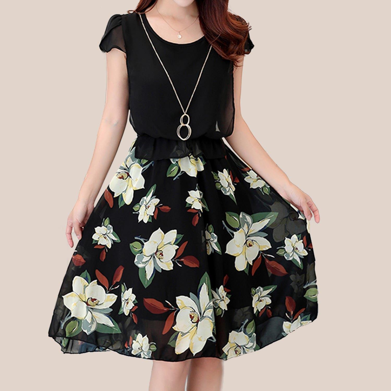 洋裝--韓版優雅氣質雪紡印花圓領花苞短袖假兩件連身裙(紅.綠M-3L)-D435眼圈熊中大尺碼 0