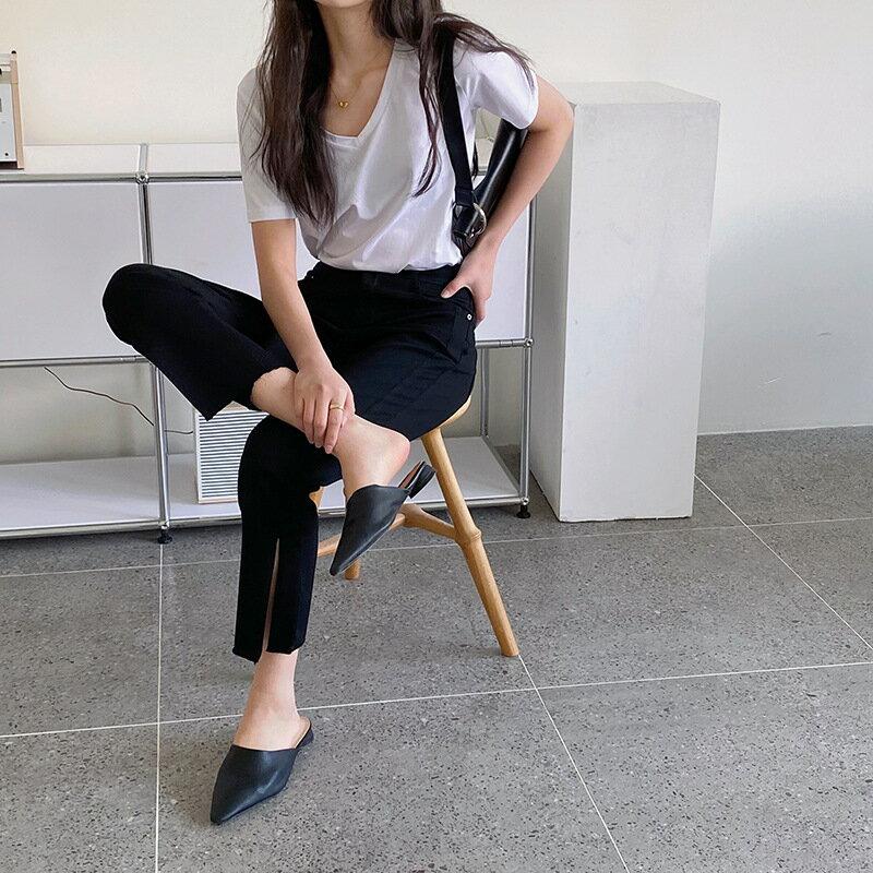 開叉直筒褲女春夏季高腰垂感顯瘦黑色寬鬆休閒褲子