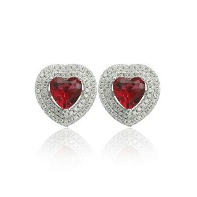 925純銀耳環鑲鑽耳飾~高貴大方心型 情人節 女飾品2色73dm90~ ~~米蘭 ~