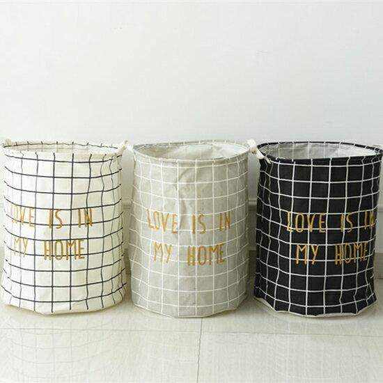 ♚MY COLOR♚ 字樣線條收納桶 衣物 玩具 雜物 分類 摺疊 透氣 大容量 手提 懸掛 髒衣籃【N244】