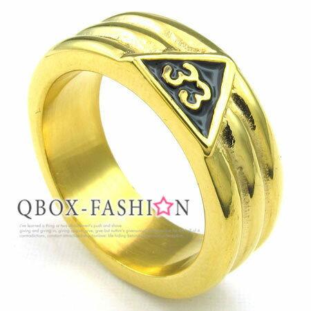 《 QBOX 》FASHION 飾品【W10023189】精緻個性共濟會鑄造316L鈦鋼戒指/戒環(金)