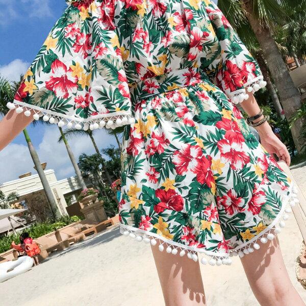 PS Mall 一字肩印花連身短褲裙度假旅遊沙灘裙【T583】 0