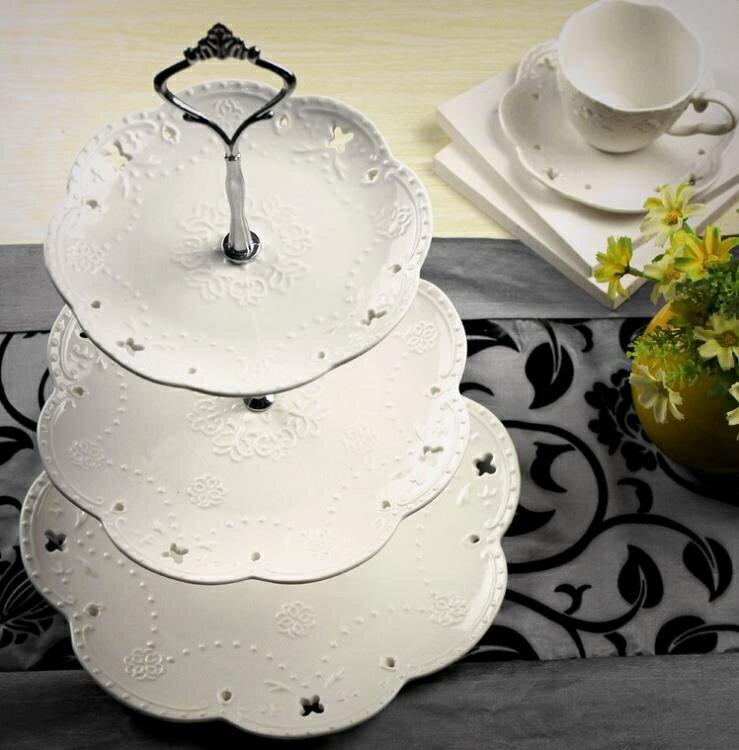 水果盤陶瓷水果盤歐式三層點心盤蛋糕盤多層糕點盤客廳創意糖果托盤架子 娜娜小屋