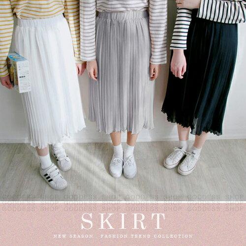 均一價299~嘉蒂斯長裙 學院氣質風純色珍珠雪紡百摺中長裙~040357~3色   ~