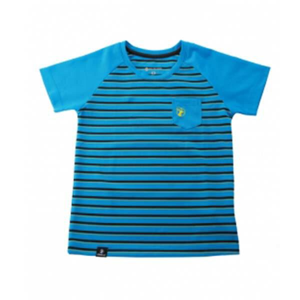 《台南悠活運動家》WILDLAND 0A31688-77 中童條紋涼感抗UV圓領衫 中藍