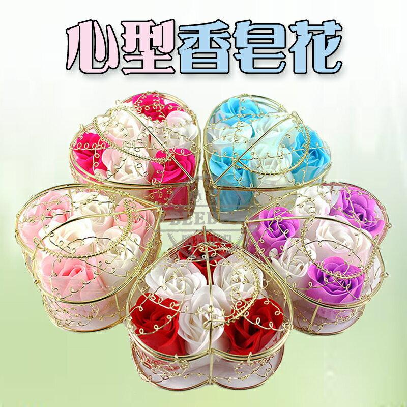 6朵玫瑰花 心型 禮盒香皂花 擺設 造型 玫瑰香皂花 香皂玫瑰花皂片 香皂花 求婚告白 情人節禮物 送禮 現貨