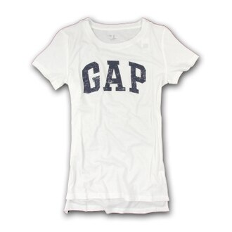 美國百分百【全新真品】GAP T恤 T-SHIRT 短袖 上衣 logo 圓領 白色 純棉 S號 女 F211