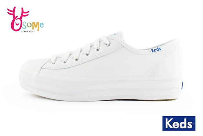Keds厚底帆布鞋 成人女款 皮面 防潑水 小白鞋 休閒鞋H9863#白色 奧森