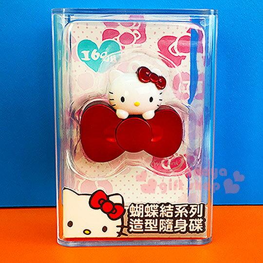 〔小禮堂〕Hello Kitty 造型隨身碟《紅.大臉.蝴蝶結.16G》精美透明盒裝