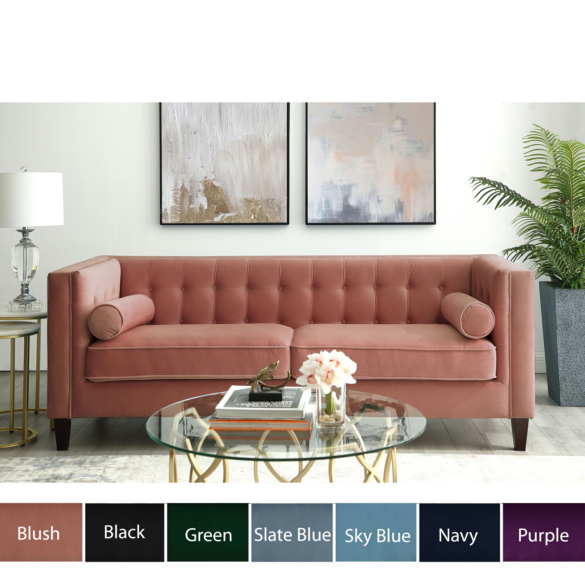 HomeSpot: Kenn Velvet Tufted Sofa - Square Arms | Tapered Legs ...
