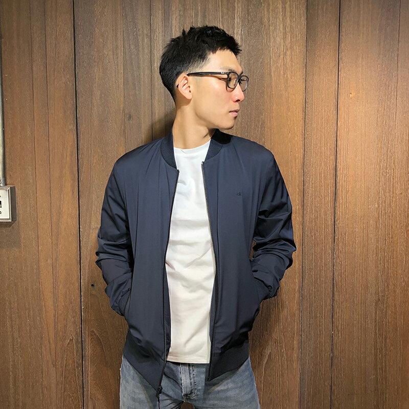 美國百分百【全新真品】Calvin Klein 立領 布勞森 外套 CK 夾克 防風 logo 男 深藍 S號 AQ65