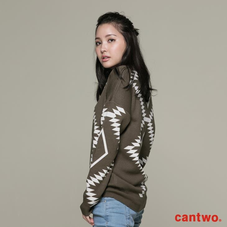 cantwo幾何民俗圖紋針織上衣(共三色) 2