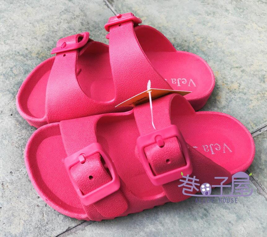 【巷子屋】童款一體成型防水勃肯拖鞋 桃色 MIT台灣製造 超值價$198