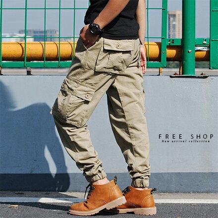 Free Shop:FreeShop素面多口袋抽繩縮口褲工作長褲寬鬆版型黑色軍綠色卡其褲束口褲有大尺碼【QTJK0472】