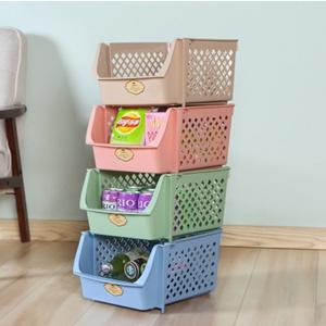 美麗大街【BF278E23E827】塑料收納筐可疊加廚房收納籃果蔬雜物置物籃玩具收納框