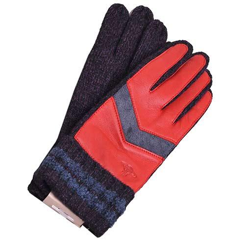 Vivienne Westwood 行星貼皮壓紋LOGO羊革貼皮反摺羊毛手套(紅皮/紫)