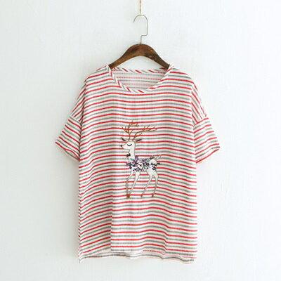 短袖T恤條紋上衣-小鹿刺繡清新休閒女打底衫3色73sy49【獨家進口】【米蘭精品】