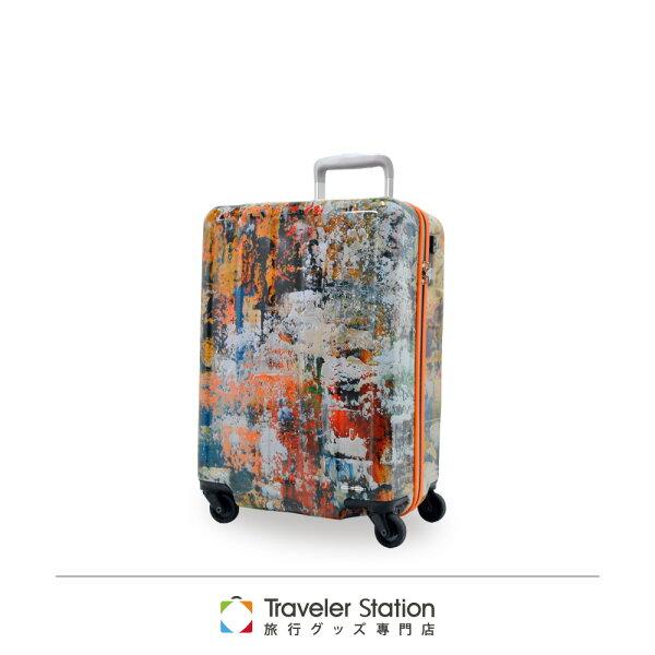 【加賀皮件】CROWN皇冠聯名款藝術油畫拉鍊箱旅行箱19.5吋行李箱C-FD120