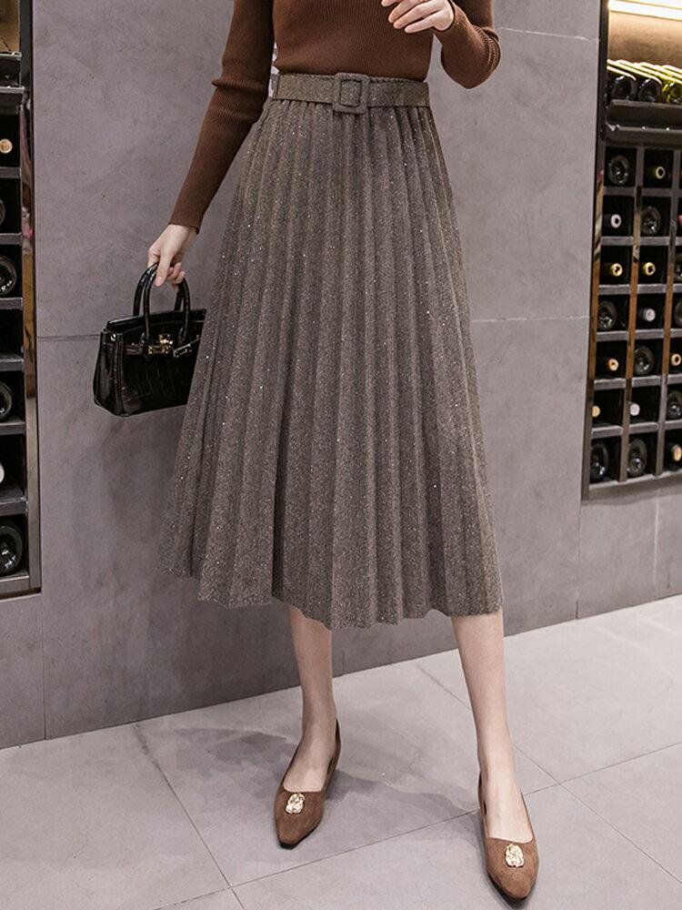 2020春季新款韓版顯瘦中長款百褶裙高腰A字半身裙裙子潮女1入