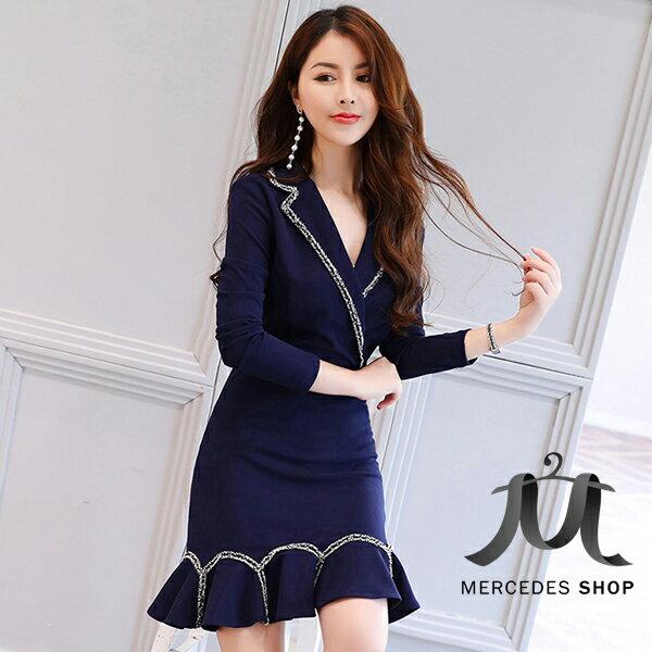 梅西蒂絲Mercedes Shop:《全店75折》藍色西裝翻領魚尾裙連身裙長袖洋裝(S-XL)-梅西蒂絲(現貨+預購)