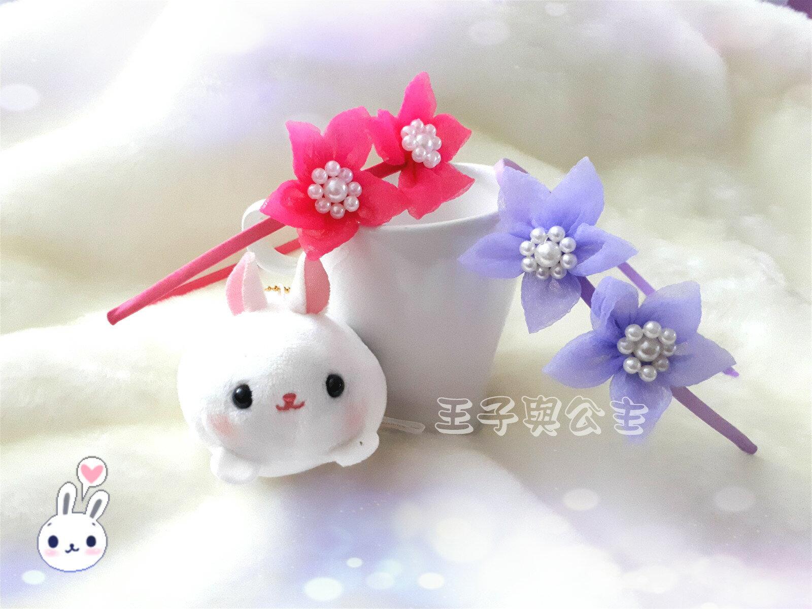 甜美寶寶雙五瓣花珍珠髮箍AA007 ~~~~~ 日韓 髮飾 髮帶 髮圈  蕾絲 布藝  兒