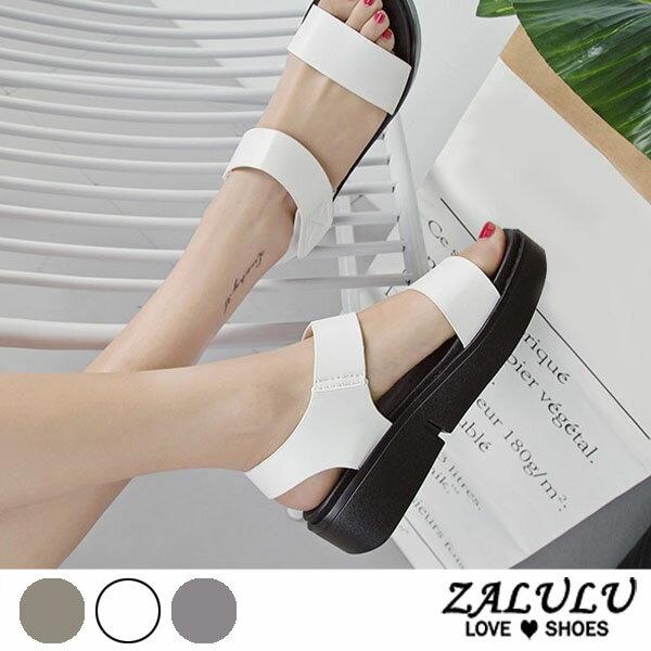 ZALULU愛鞋館7DE225預購簡單有型˙一字帶厚底涼鞋-米白金槍-35-39