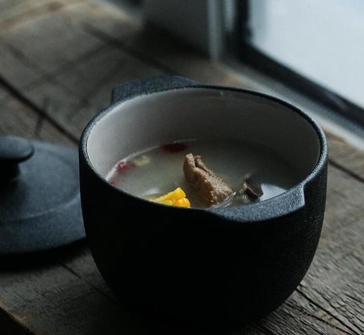 朵頤格魯黑色燉燕窩燉盅煲湯 帶蓋陶瓷燉罐家用帶蓋蒸蠱蒸蛋燉碗 AT