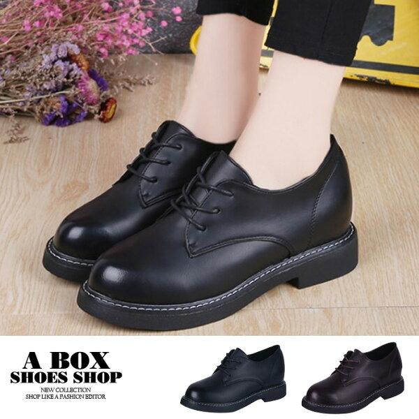 格子舖:【KP8805-2】英倫風3CM粗低跟綁帶牛筋鞋紳士鞋馬汀鞋休閒皮鞋光澤皮革2色