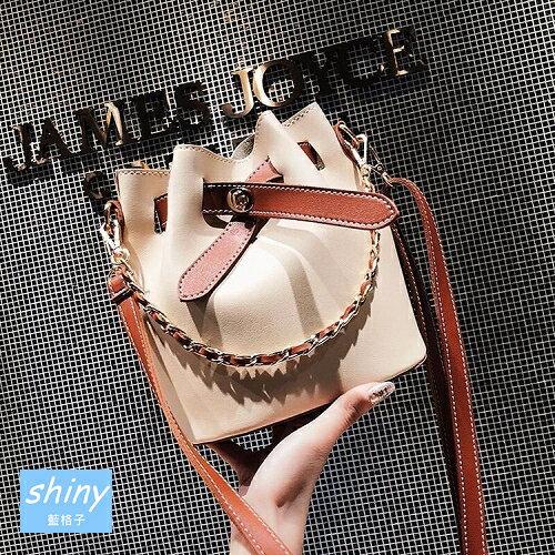 【P175】shiny藍格子-甜美氣質.時尚百搭鏈條手提單肩斜挎水桶包