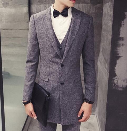 FINDSENSE品牌 韓國男 中長款 西裝外套穿搭 三件式套裝 成套西裝 西裝修身 外套+背心+褲子