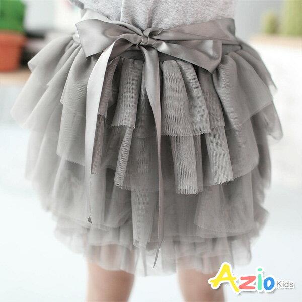 《Azio Kids 美國派》褲裙 層層網紗蝴蝶結褲裙(深灰)