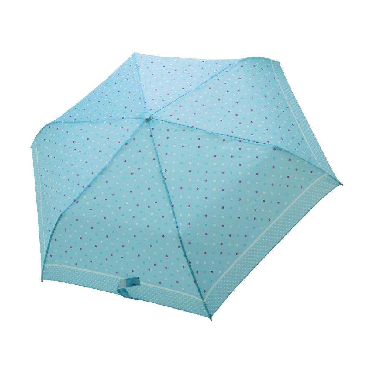 【iumbrella】晴雨兩用傘雨傘 折傘 圓點小彎勾-淺藍