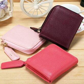 ☆BOBI☆02/25素色簡約皮面多分層 拉鍊皮夾錢包卡包零錢包【PS101】