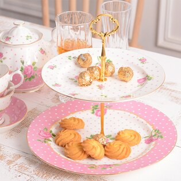 麻吉小舖:骨瓷英式下午茶點心架蛋糕架雙層水果盤點心架-粉色點點玫瑰款