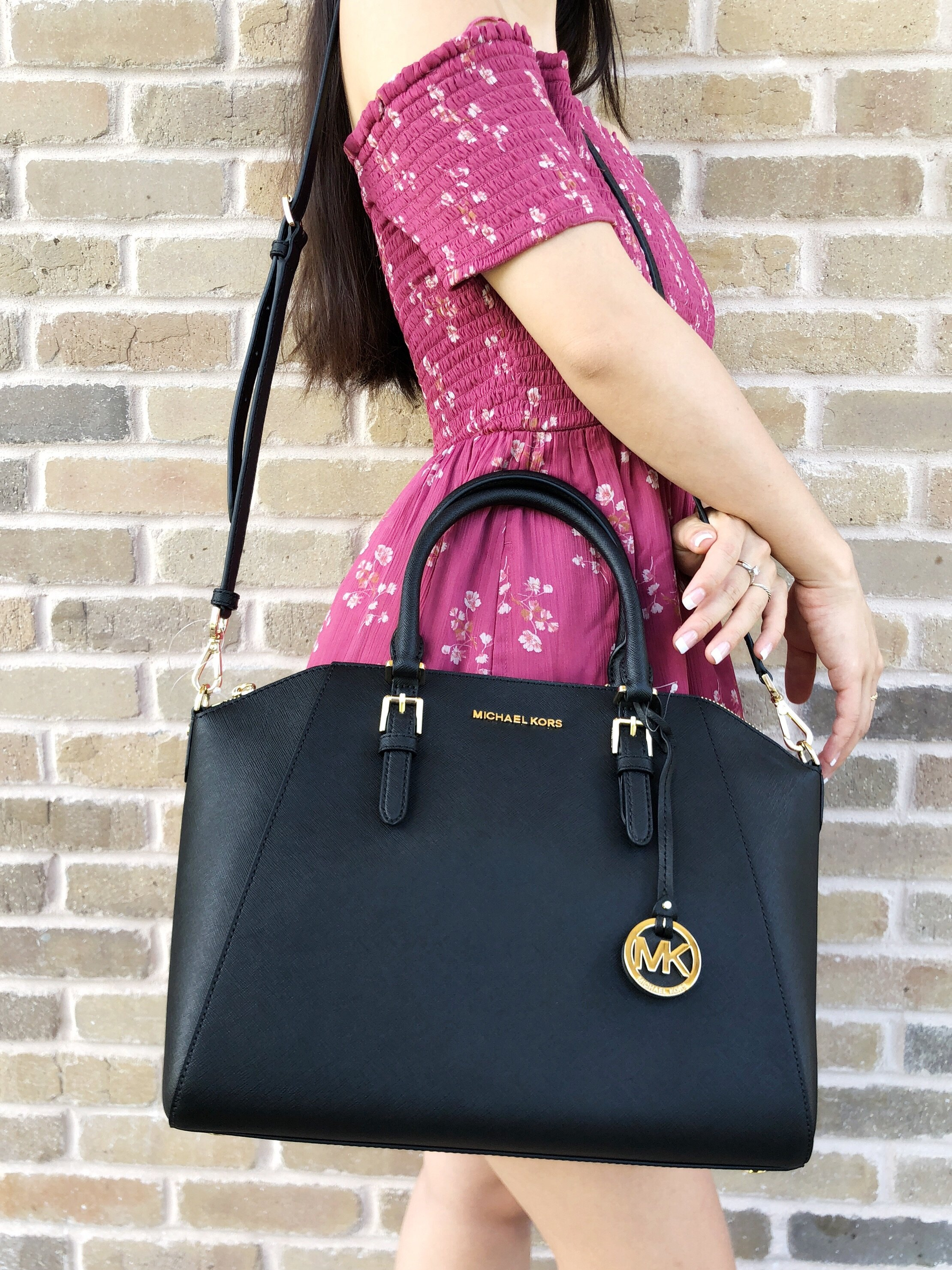 7b5bad29ed33 Gaby s Bags  Michael Kors Large Ciara Top Zip Satchel Black Saffiano ...