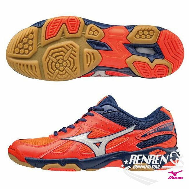 美津濃 MIZUNO 女排球鞋 Wave Twister 4  橘  深藍  入門 型款