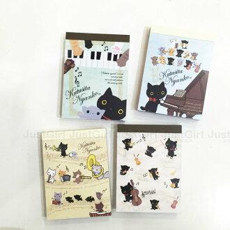 LINE 靴下貓 便條紙 MEMO紙 樂譜 黑白鍵 大提琴 三角鋼琴 文具 39元 正版日本製造進口 JustGirl