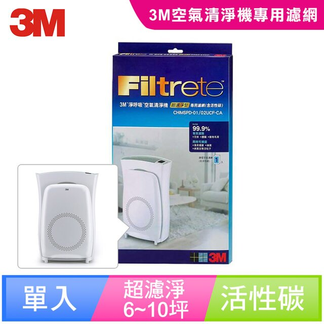 【3M】超濾淨型6/10坪空氣清淨機活性碳濾網(CHIMSPD-01/02UCF-CA)