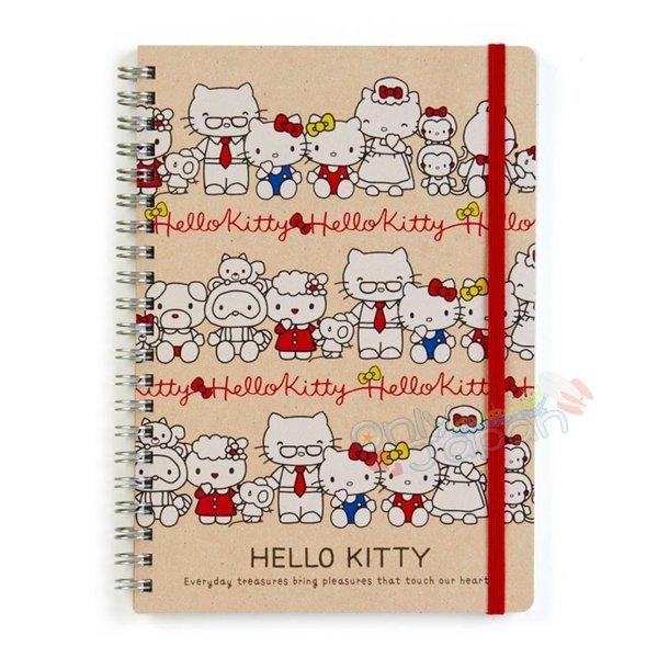 【真愛日本】4901610062326日本製線圈A5筆記本-KT家族ADM凱蒂貓kitty三麗鷗家族筆記本