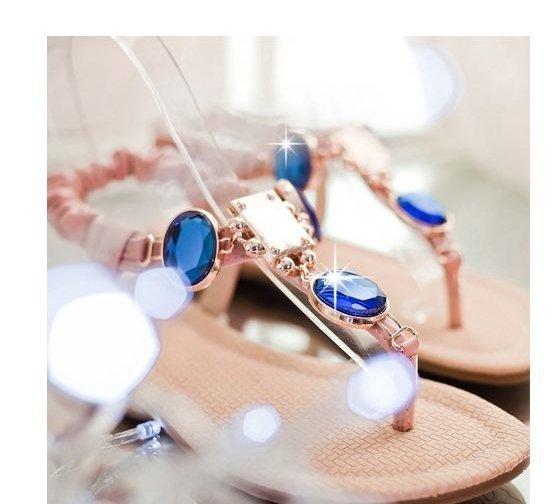 Pyf♥寶石裝飾華麗甜心T字夾腳涼鞋43大尺碼女鞋