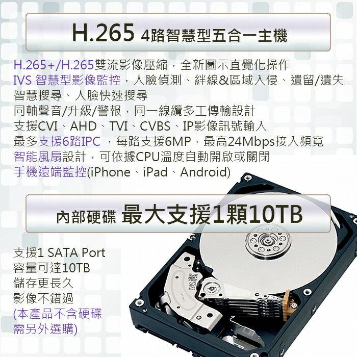 SAMPO聲寶-H.265 4路1聲智慧型五合一XVR監控系統主機DR-TW1504E