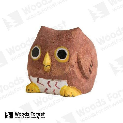 木雕森林 Woods Forest - 木雕筆專用單孔筆座【貓頭鷹】( 造型可愛;小巧不佔空間!)